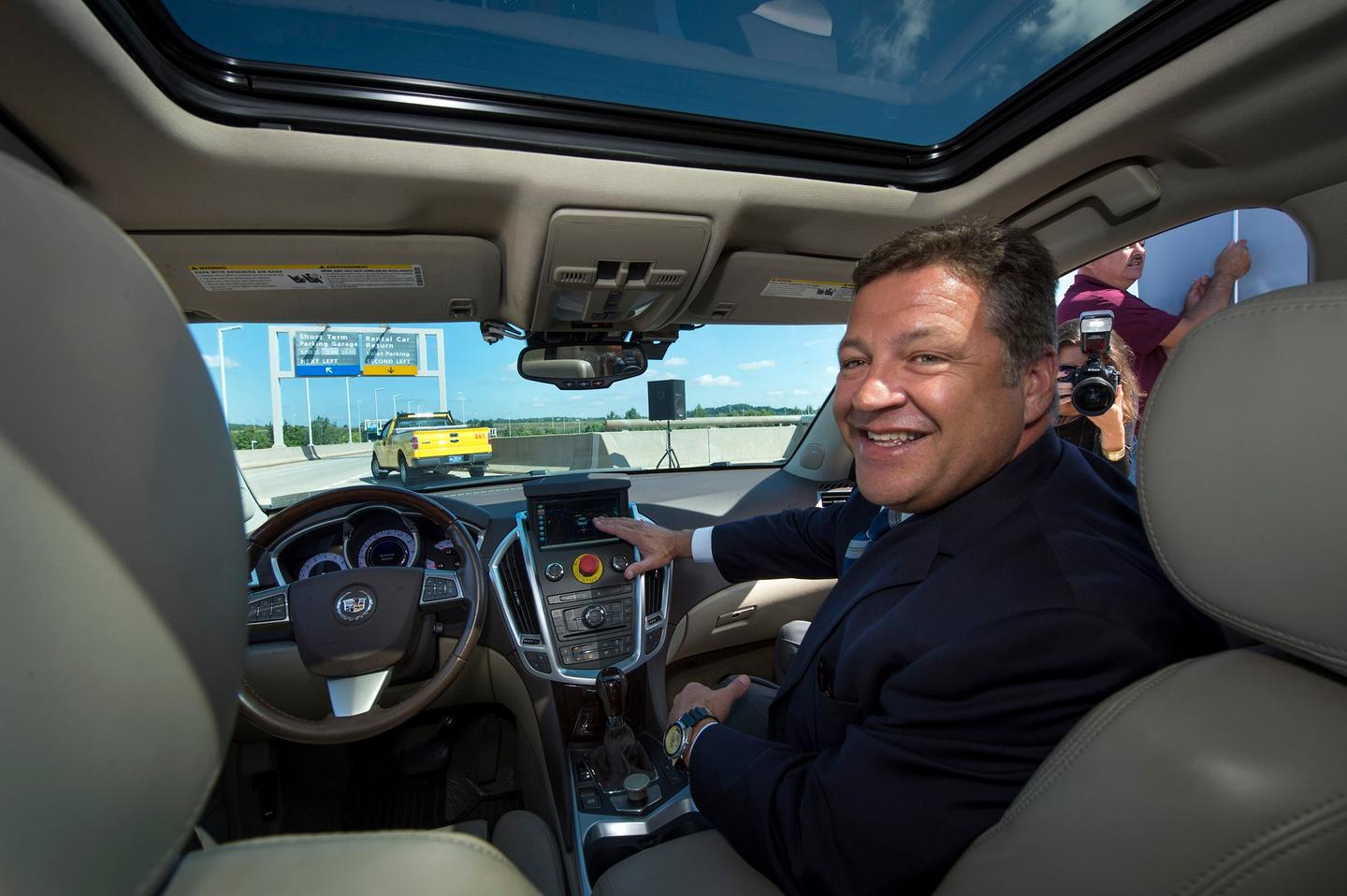 U.S. Rep. Bill Shuster (R-Pa) went on a test drive of the fully-autonomous Cadillac SRX