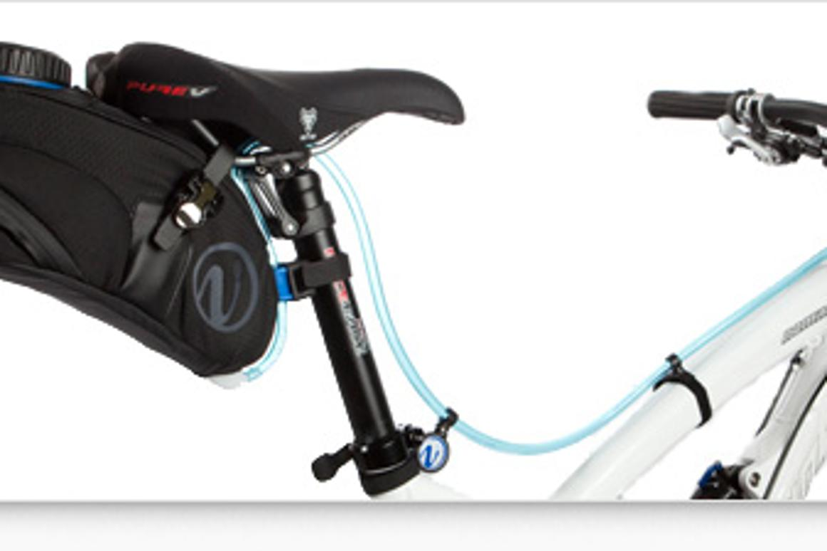 The VelEau is a cyclist's hydration system, that mounts on the bike instead of the rider