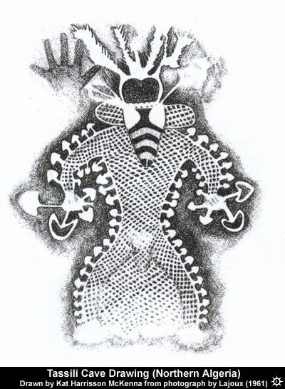 A drawing made from a photograph of a cave painting found in the Tassili Cave in Northern Algeria