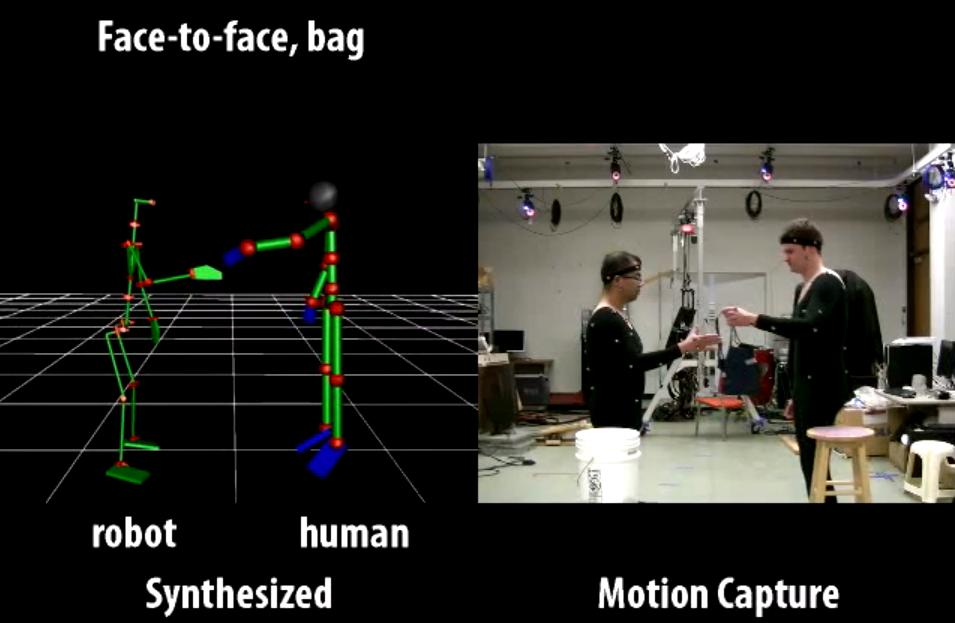 Motion capture was used to build a database of human motions when giving and receiving objects