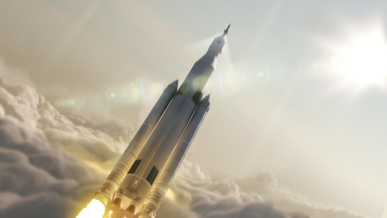Artist's concept of the SLS in flight (Image: NASA)