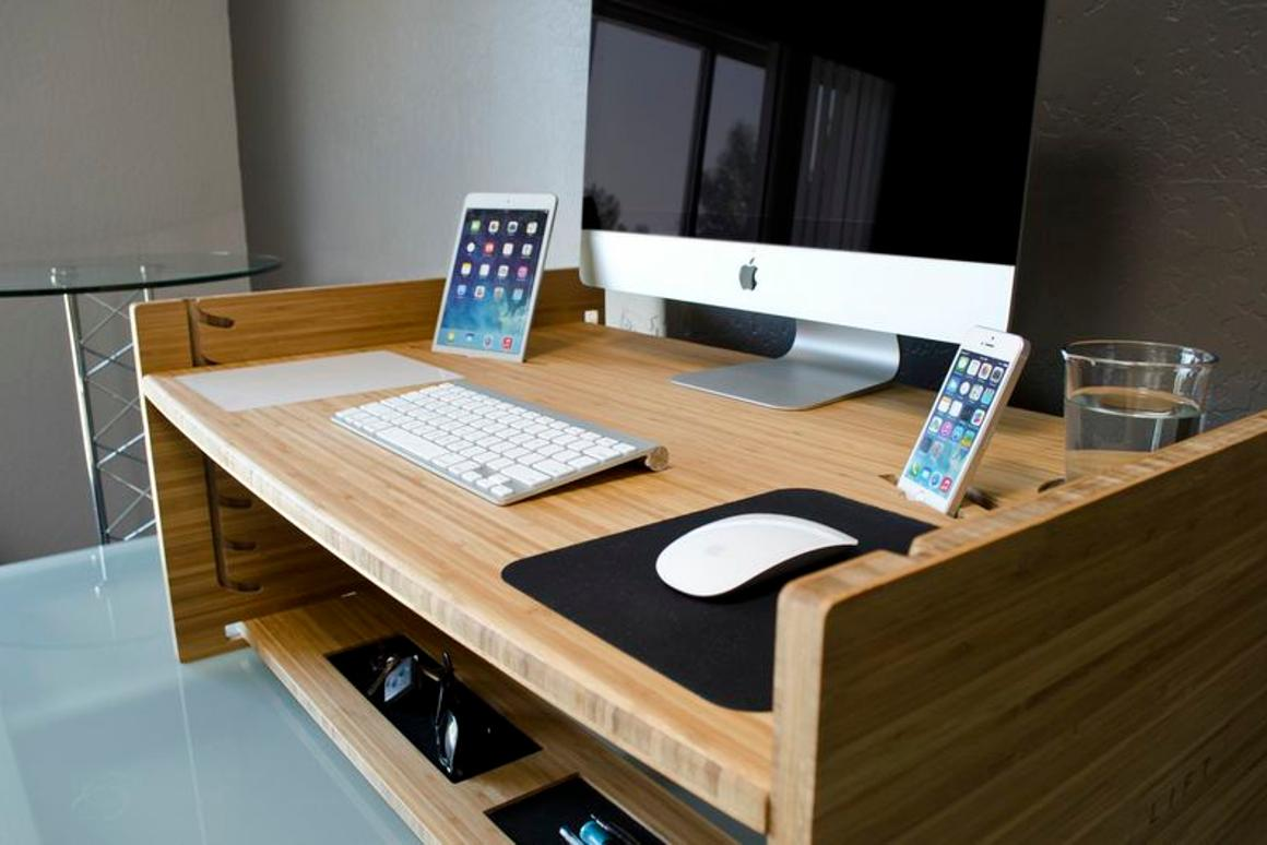 The Lift desk can be adjusted to different heights when you've been sitting down for too long