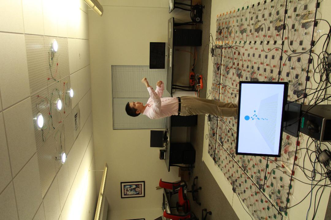 LiSense senses a user's movements by utilizing shadow maps on the floor to reconstruct their 3D posture