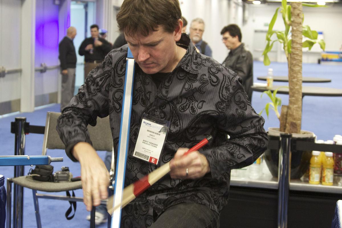 Andy Graham demonstrating the SLAPEROO at NAMM
