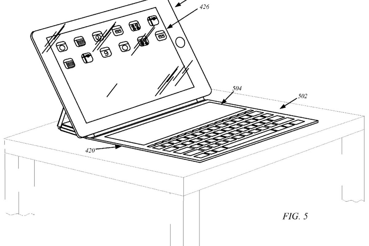 One drawing shows a touch-screen keyboard attachment not unlike the Touch Cover, an accessory for Microsoft's Surface tablets