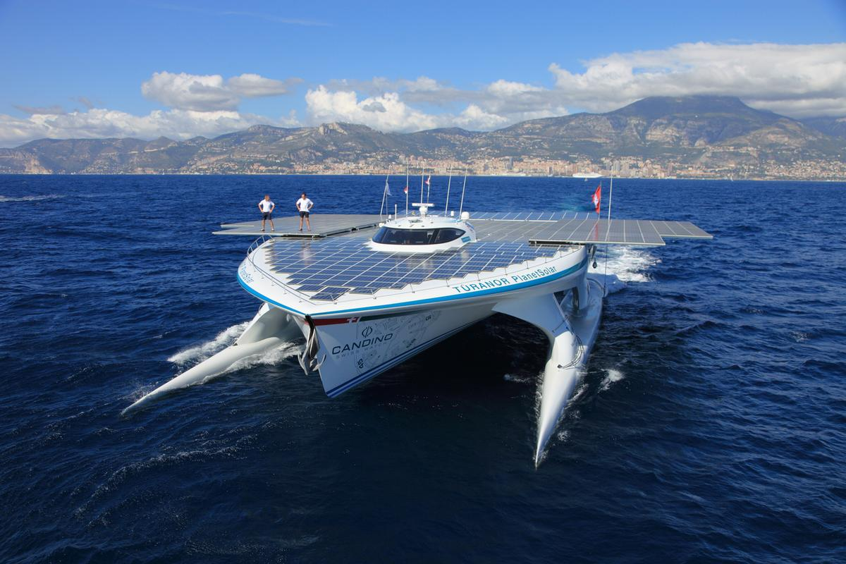 The TURANOR PlanetSolar embarks on its record breaking circumnavigation attempt (Image: PlanetSolar)
