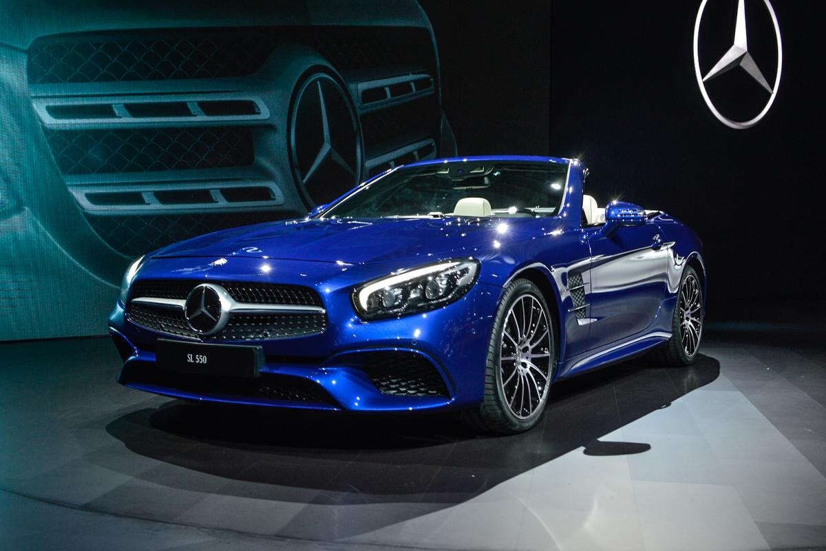 The Mercedes SL can be had with a V6 or a V8 engine