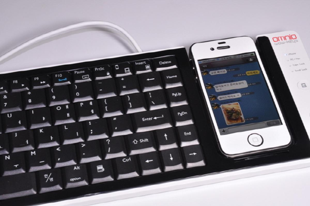 WOW-Keys is a full-sized desktop keyboard that can serve as an input device for an iPhone, or that can use an iPhone as a multi-touch input device for an attached computer (Photo: CompuExpert)