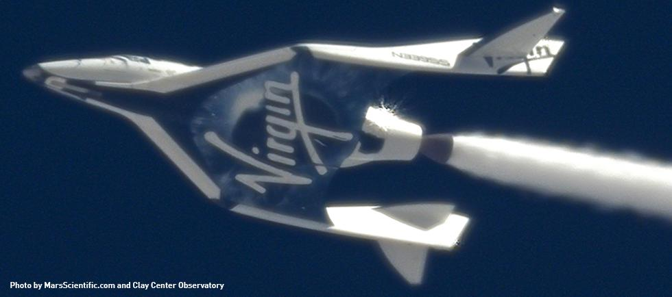 "SpaceShipTwo producing an oxidizer contrail in a ""Cold Flow"" test flight (Photo: MarsScientific.com and Clay Center Observatory)"