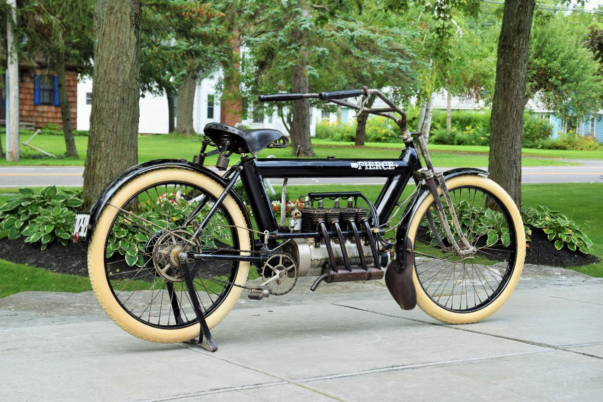 This 1911 Pierce Arrow 696cc four-cylinder is now the most expensive Pierce motorcycle to sell at auction. Despite a shine that suggests new paint, this bike retains the original paint with which it left the showroom 109 years ago. Sold by Mecum Auctions, Sunday, 12 July 2020 for $225,500 including buyers premium