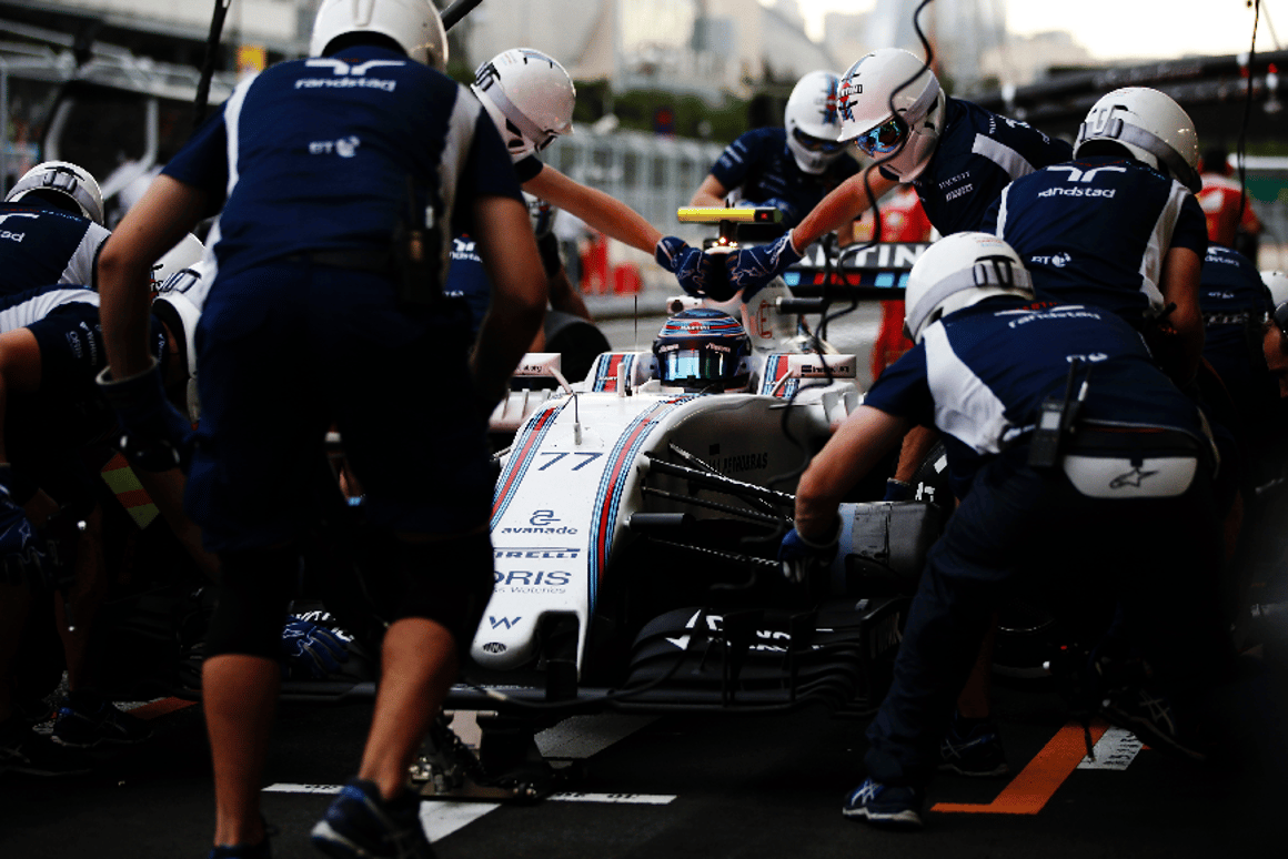 Felipe Massa in the pits at Baku