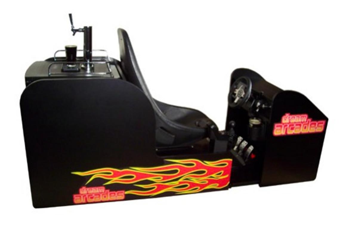 The Octane 120 Pro Beer Arcade is an arcade-style racing game system, with its own beer tap