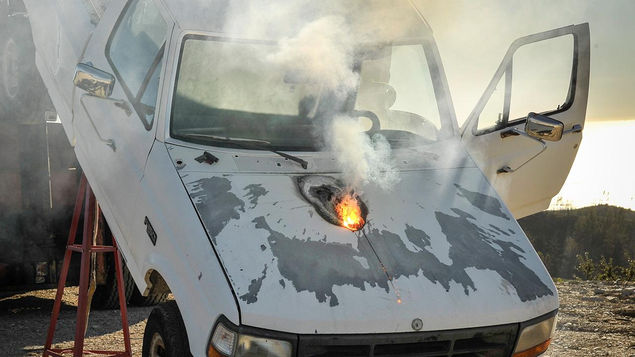 The laser disabled the engine and drivetrain of a small truck