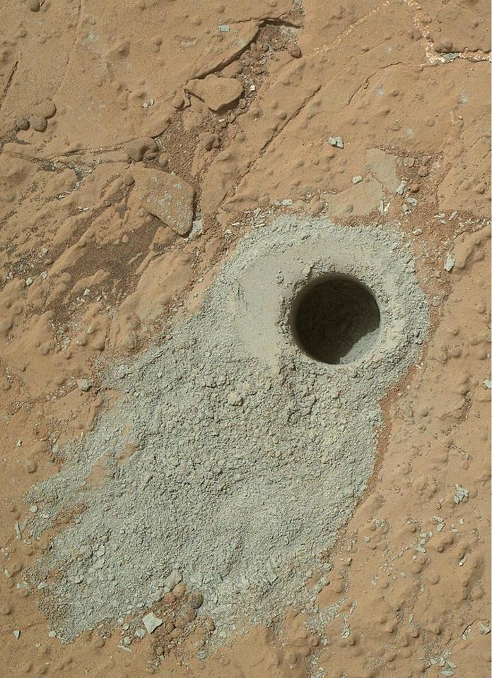 "NASA's Mars rover Curiosity drilled into this rock target, ""Cumberland,"" during the 279th Martian day, or sol, of the rover's work on Mars (Image: NASA/JPL-Caltech/MSSS)"