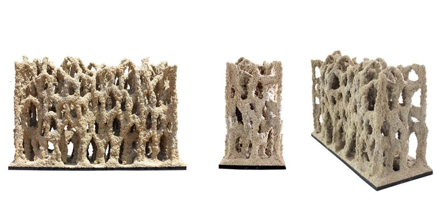 Stone Spray uses soil and sand combined with a solidifying agent to build solid, eco-friendly architecture much like a 3D printer