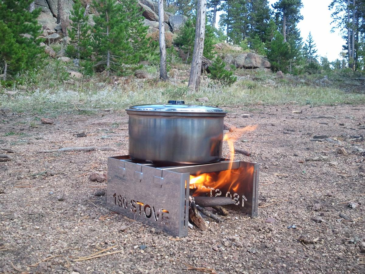 The 180 Stove vents and protects your fire so that it's focused on the pot above