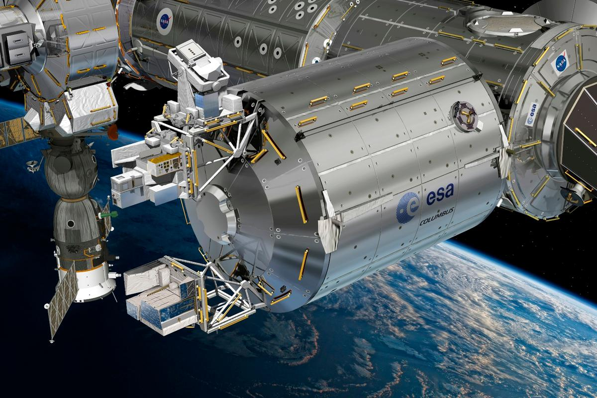 Artist's concept of the Atmosphere-Space Interactions Monitor (ASIM, bottom box) mounted to the European space laboratory Columbus
