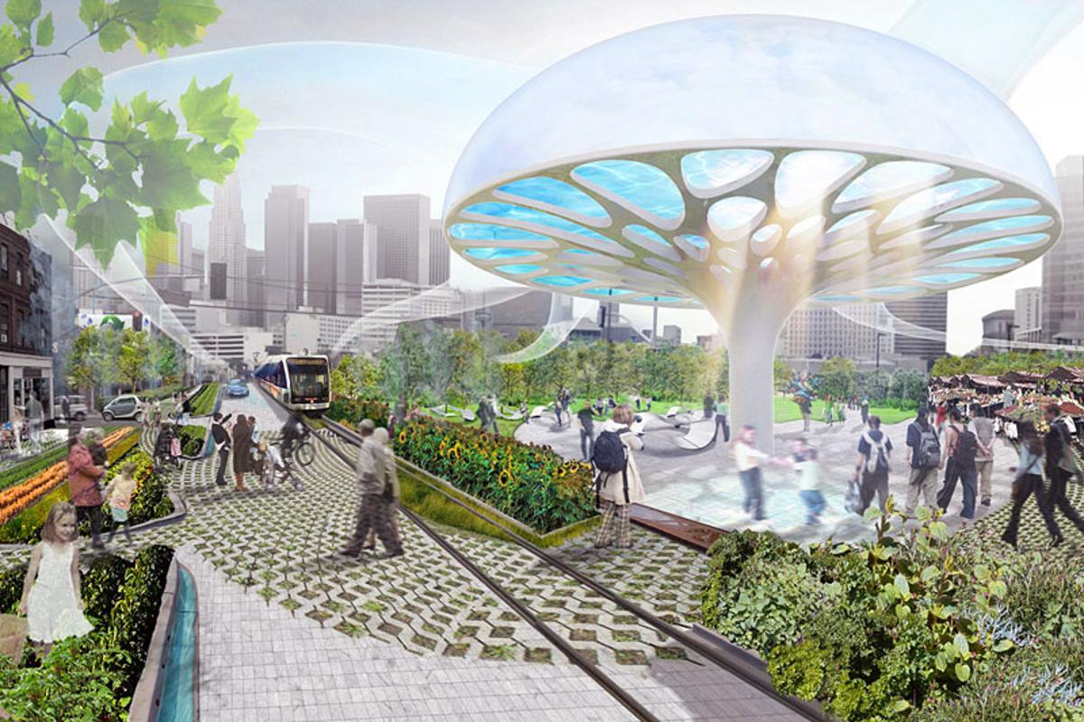 The mushroom-shaped solar evaporators of the winning Project Umbrella entry