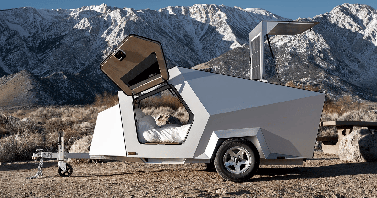 Polydrop camping trailer optimized for EV towing and off-grid living
