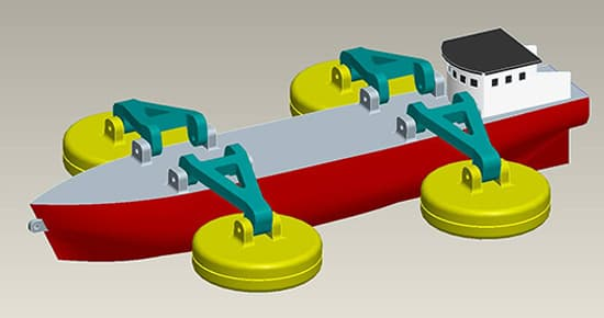 A proposed wave-power system could be installed on ships, which would regularly return to shore to deliver power to the grid (Image: Fraunhofer)
