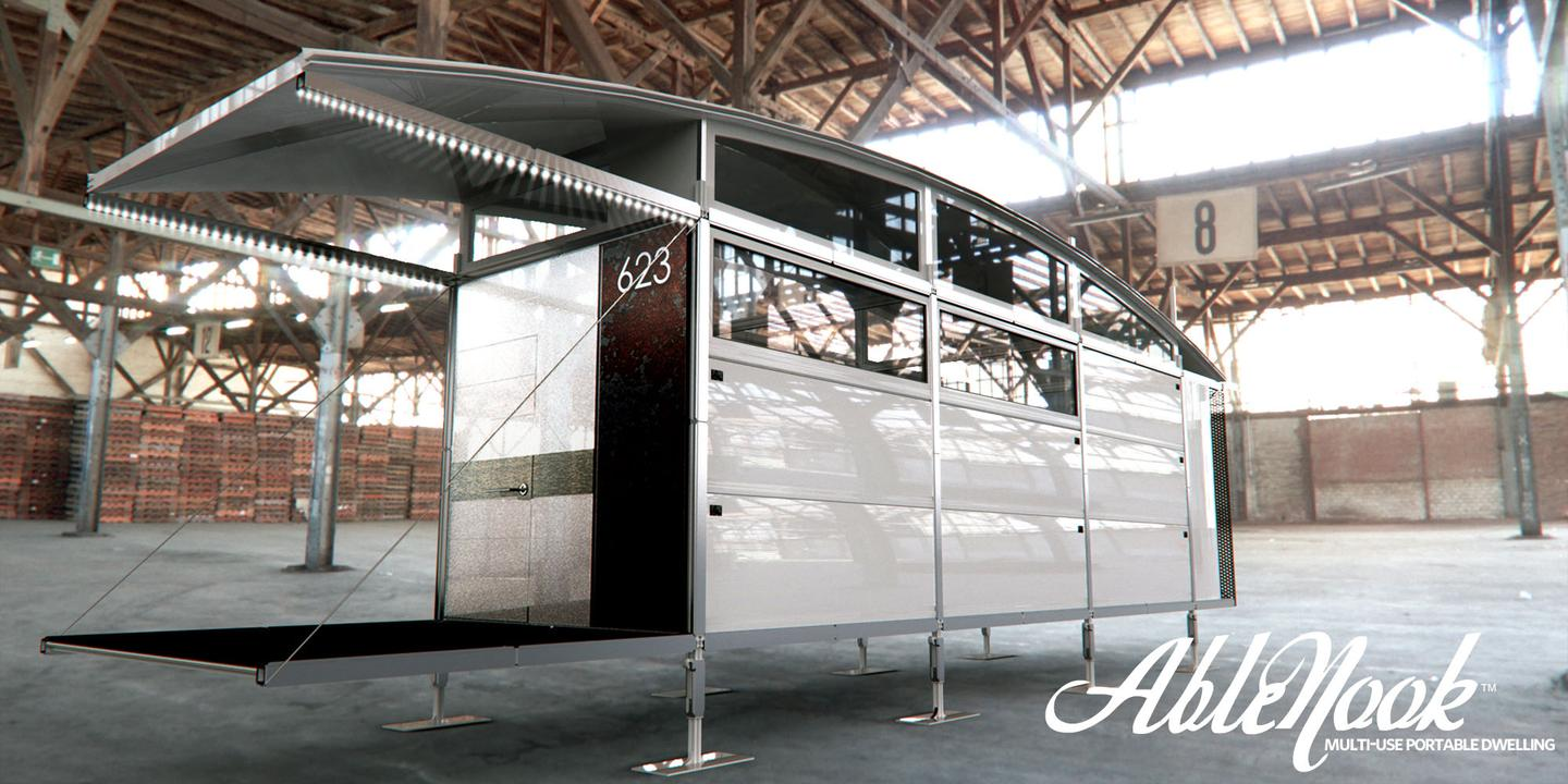 AbleNook is a flexible and mobile emergency housing system that would provide families with dignity and privacy during a natural disaster