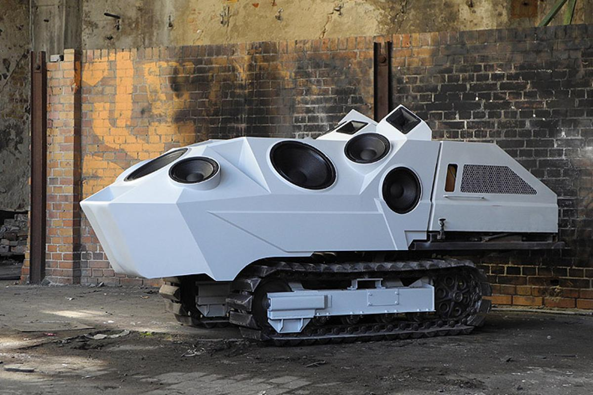 Artist Nik Nowak has converted a Japanese mini-dumper into a 'sound tank' that pumps out 4,000 watts of audio