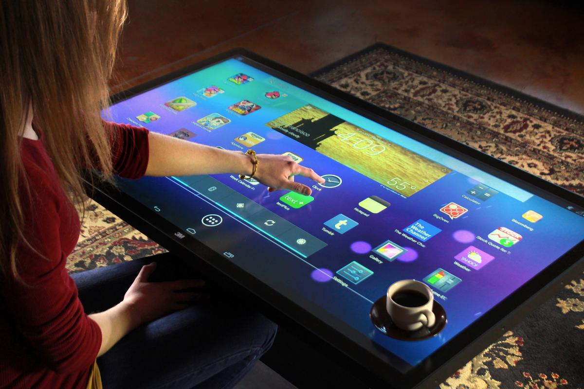 The new Android version of Ideum's Platform 46 Coffee Table featuring 3M's 60-point simultaneous touch technology