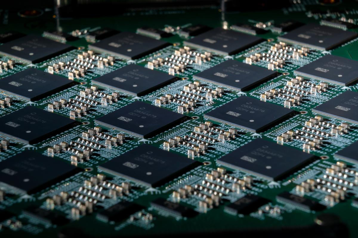 An array of Intel Loihi neuromorphic research chips.