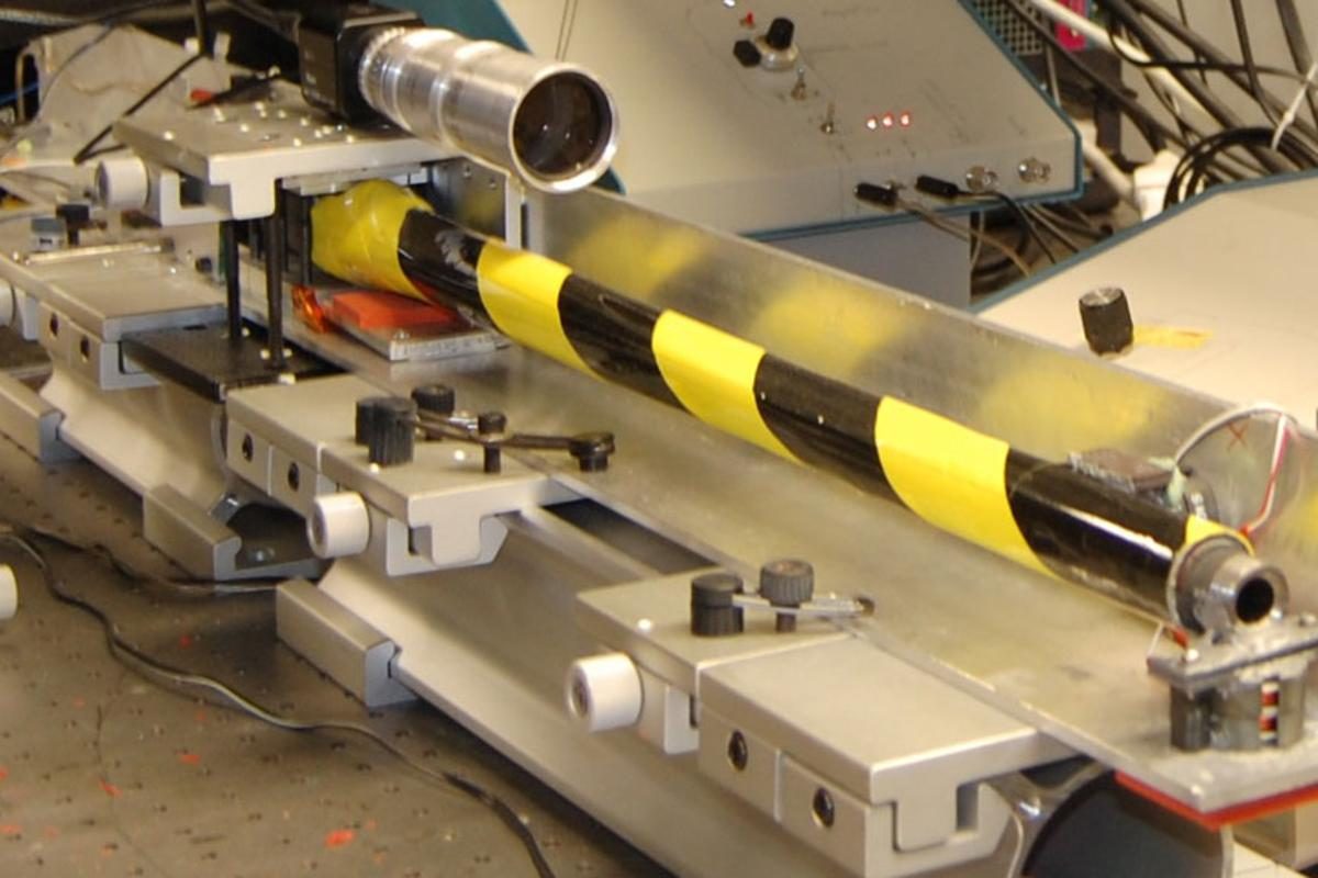 A lab prototype of ORNL's Reticle Compensating Rifle Barrel Reference Sensor (Image: ORNL/Ron Walli)