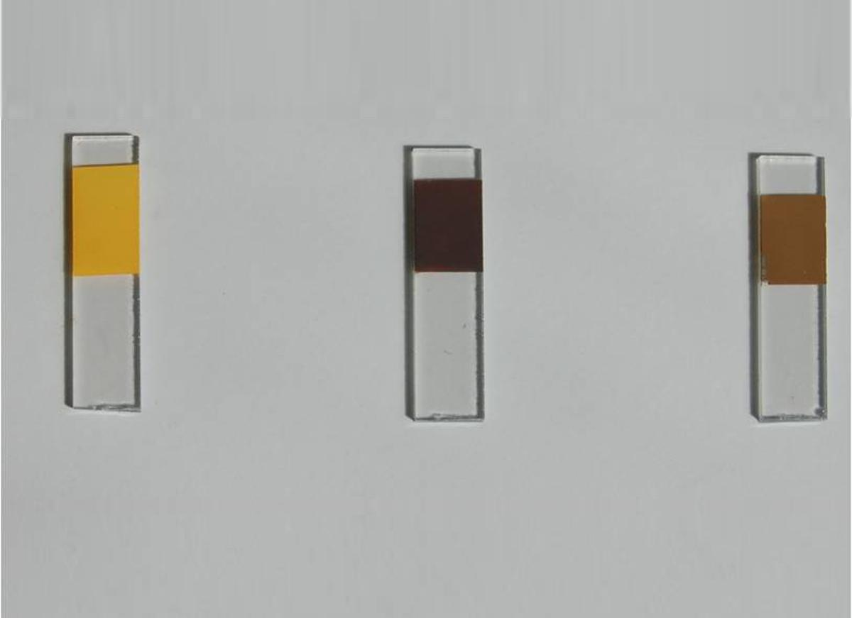 Mixtures using cadmium sulfide produced yellow paint, cadmium selenide produced dark brown, while a mixture of the two - which offered the best conversion efficiency - was light brown (Photo: ACS Nano)