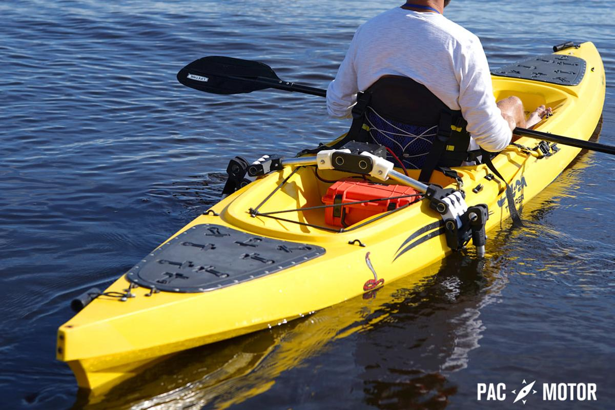 The PacMotor system, with its two motors deployed over either side of the kayak