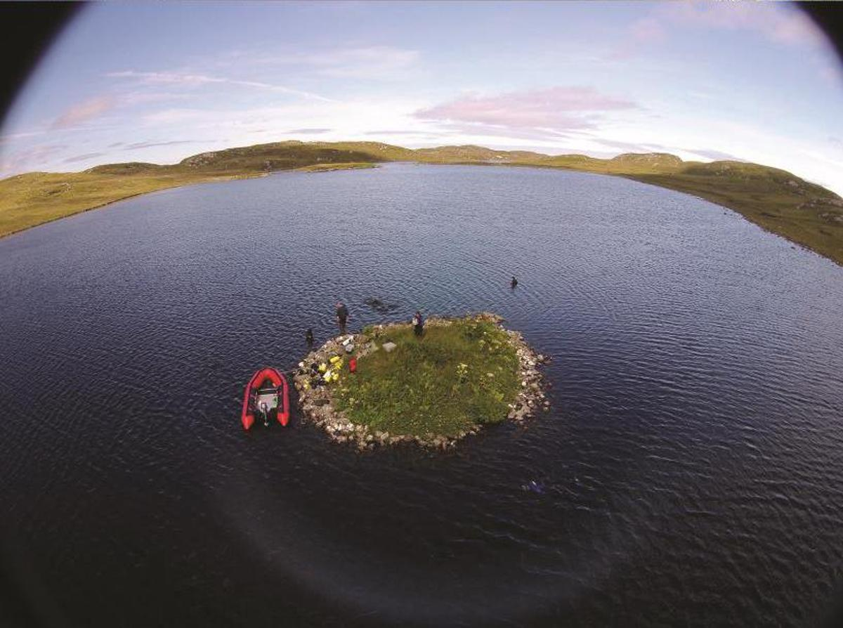 Aerial view of islet in Loch Langabhat