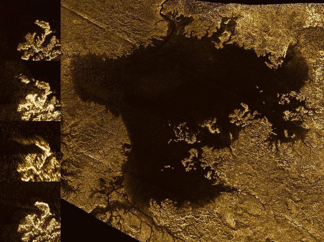 Images from the radar instrument aboard NASA's Cassini spacecraft show the evolution of a transient feature in the large hydrocarbon sea named Ligeia Mare on Saturn's moon Titan