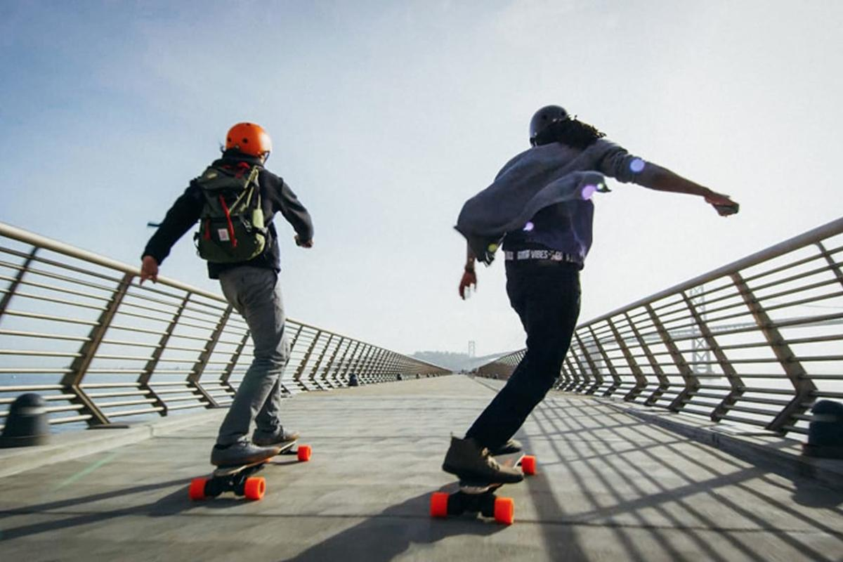 The second generation of Boosted Boards retain the bamboo deck and signature orange street wheels of the original