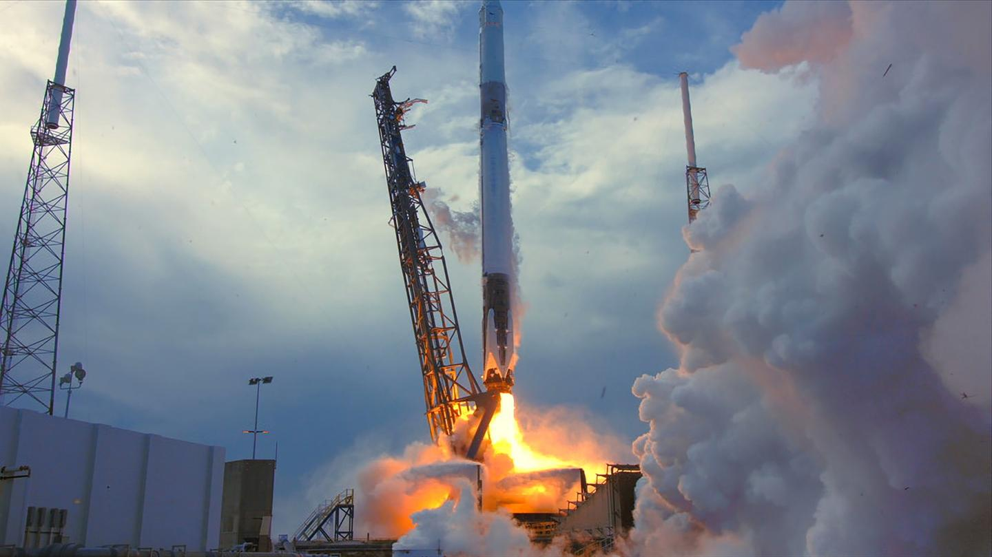 A SpaceX Dragon launch delivering more than 5,800 pounds of equipment and research to the International Space Station