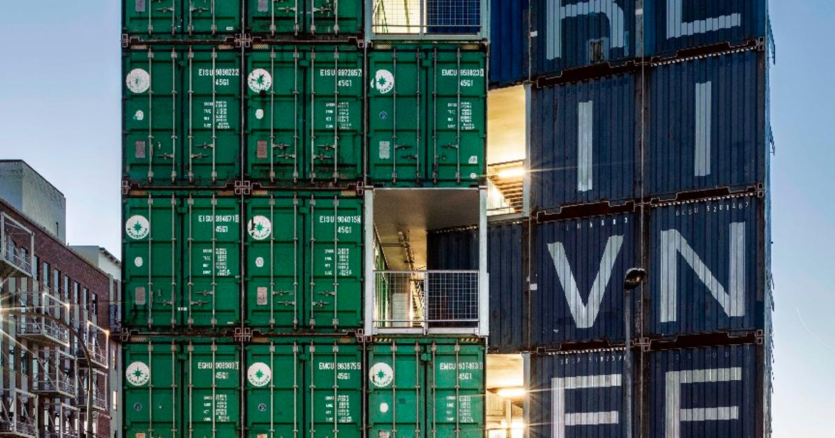 Residential building made from 140 shipping containers