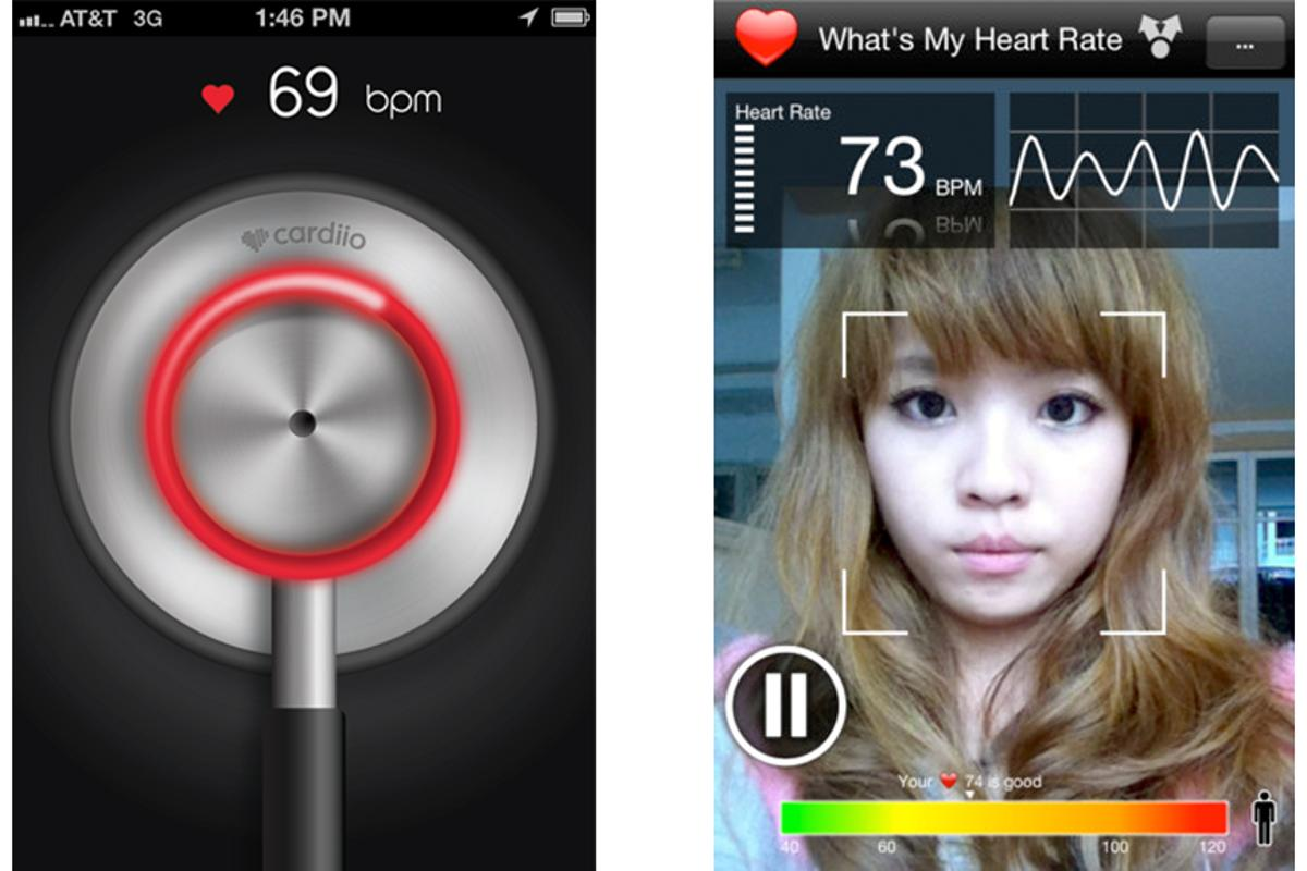 The Cardiio (left) and What's My Heart Rate (right) apps measure heart rate by detecting changes in the face