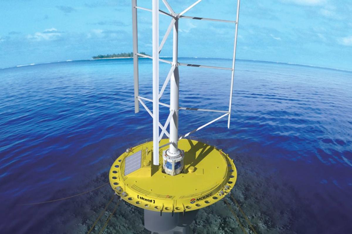 The SKWID system, which harnesses power from both the wind and the tide, is scheduled to be tested in Japan