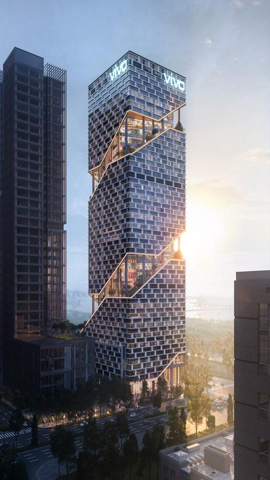 The Vivo headquarters will rise to a height of 150 m (492 ft)
