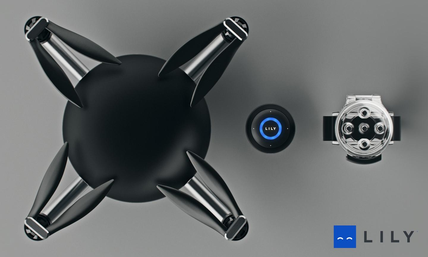 Lily's electronics are housed in a smooth dome fashioned from black polycarbonate