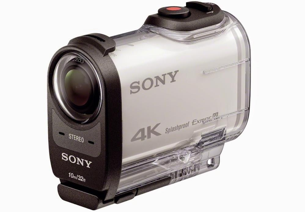 Sony's 4K-shooting FDR-X1000V Action Cam, with its watertight housing