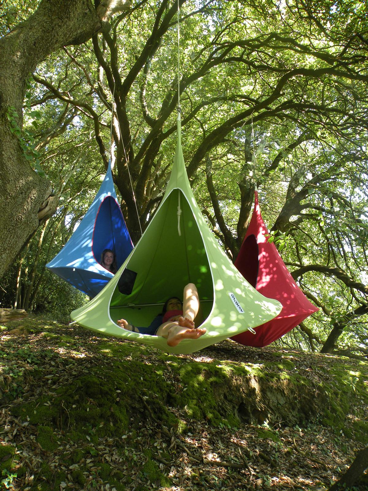 Cacoon is a hanging fabric treehouse designed for adults and children alike
