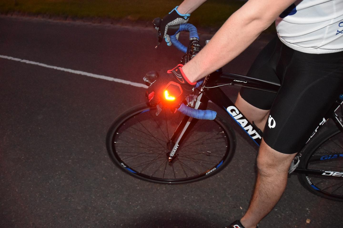 beSEEN gloves' LEDs can be left on, to act as running lights
