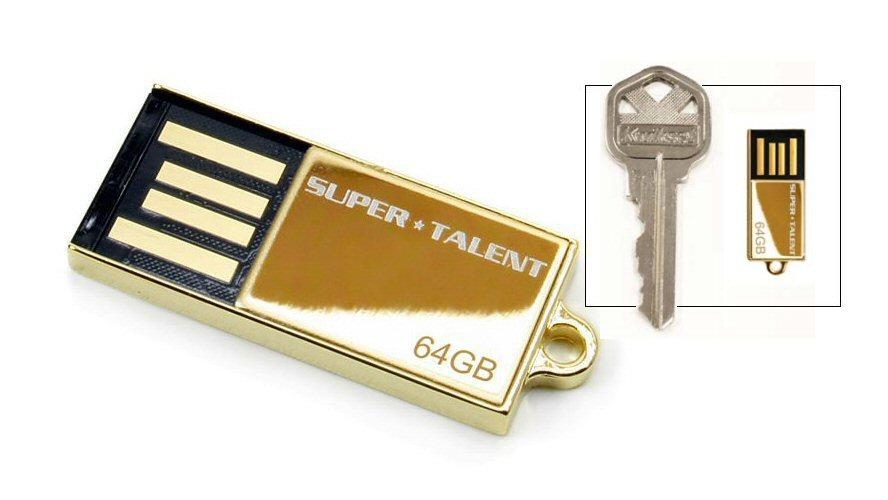 Super Talent's special edition 64GB USB flash drive is available only with 24K gold plating and is claimed to be the world's smallest at this capacity