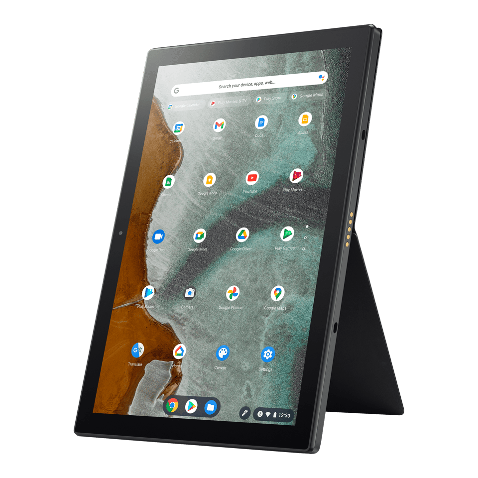 The included magnetic stand can support the Chromebook Detachable CM3 in portrait mode, handy for videochats or reading documents