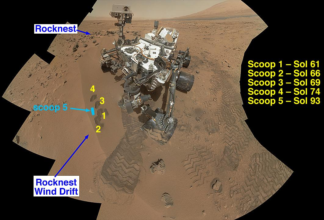 """Rocknest Wind Drift"" documenting where soil samples were collected (Image: NASA/JPL-Caltech)"