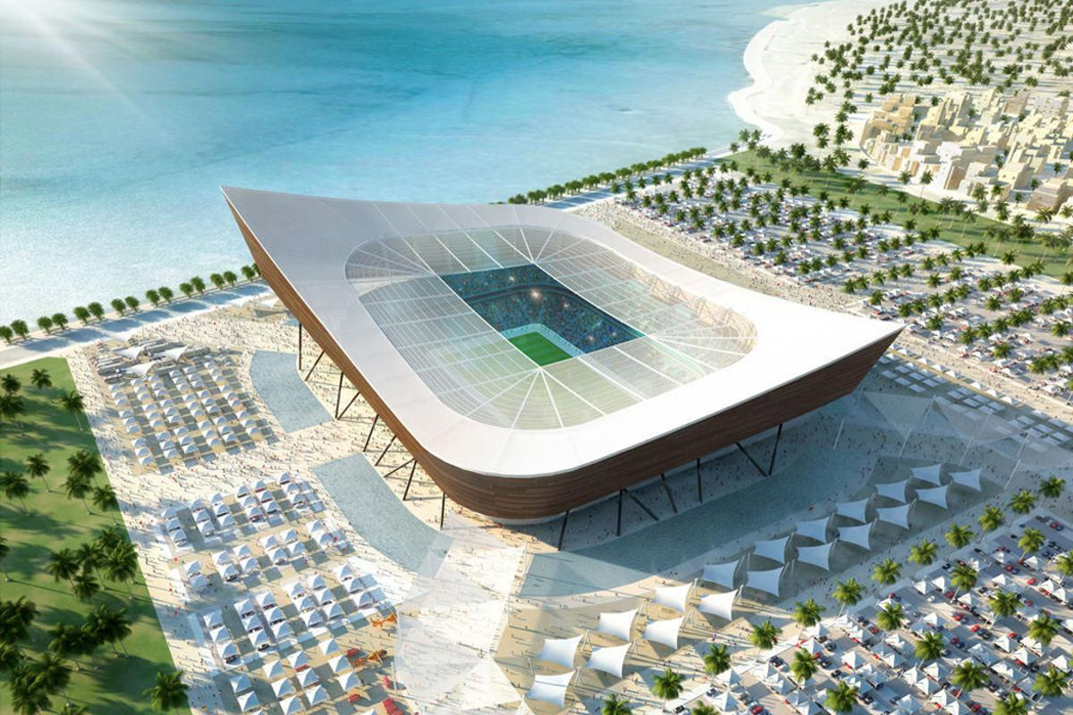 Artist's illustration of the proposed Al-Shamal Stadium to be built in Ash-Shamal, Qatar for the 2022 World Cup