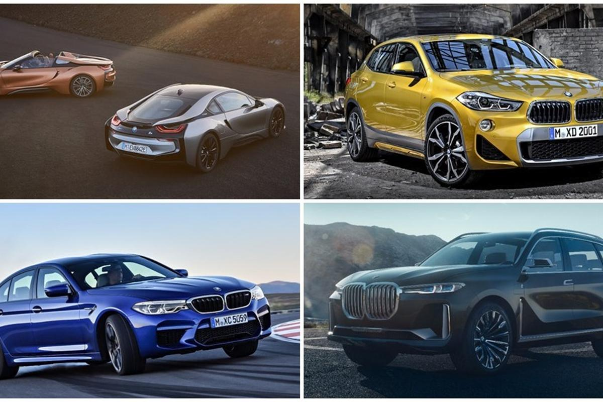 Several new BMW models will be debuting at the 2018 North American International Auto Show including the new i8 Coupe and Roadster (top left) as well as the all-new BMW X2 (top right)