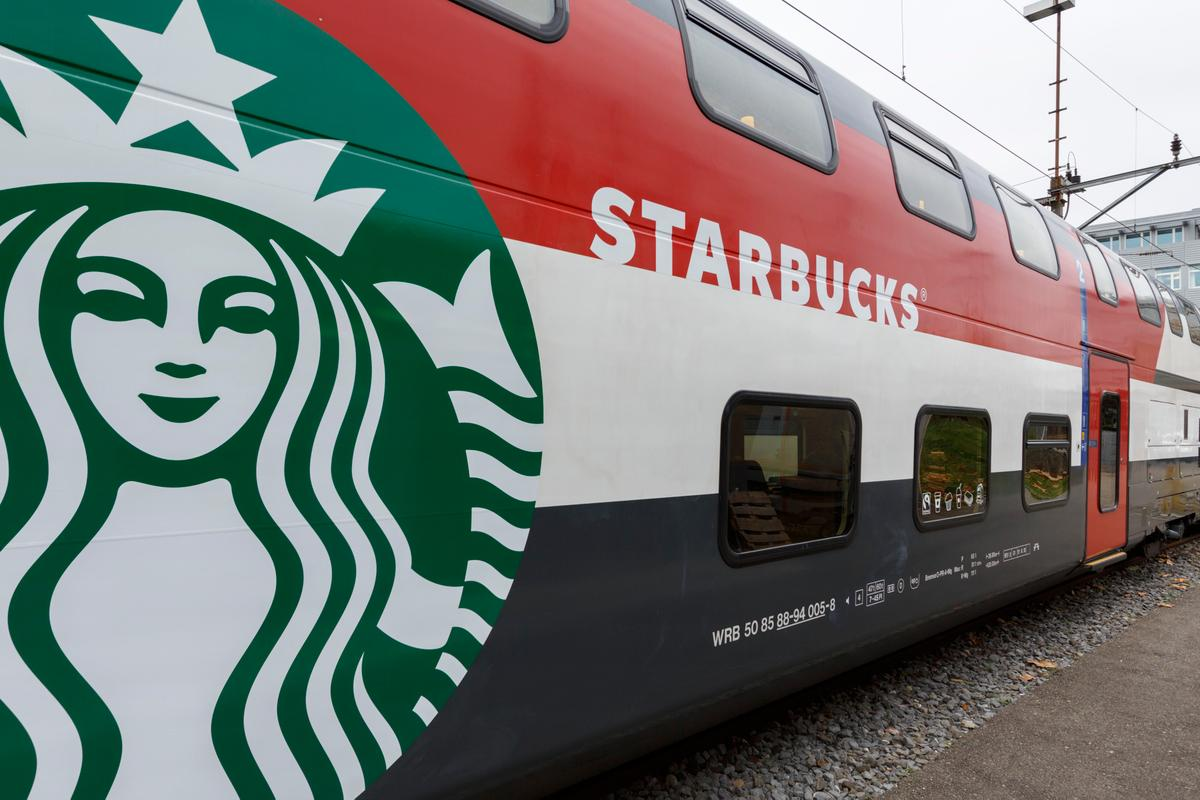 The first Starbucks coffee carriage that will serve passengers riding the rail in Switzerland