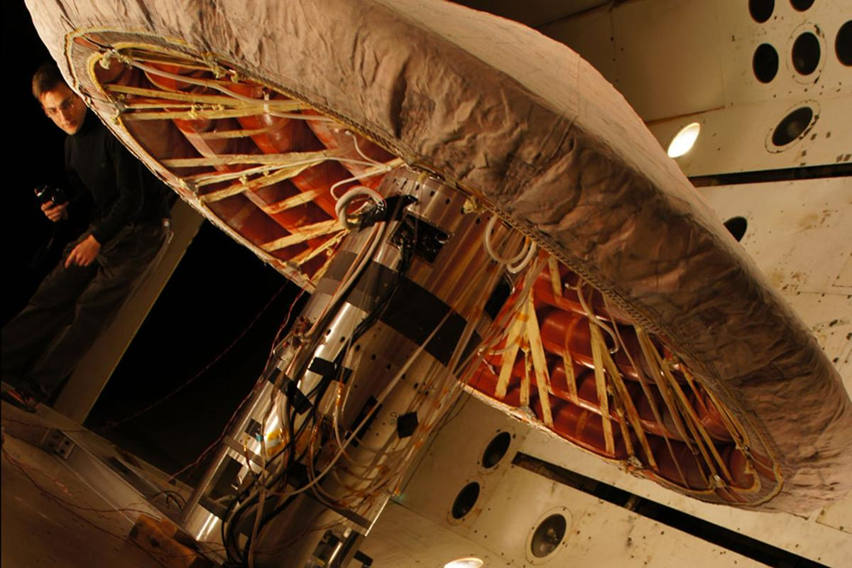 The Inflatable Re-entry Vehicle Experiment (IRVE-3) is an inflatable heat shield effective at hypersonic velocities